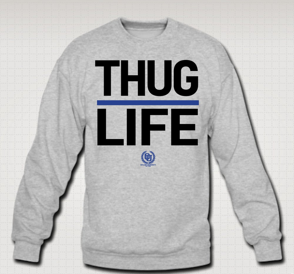 Image of Thuglife Crewneck Blue Stripe - Comes in Black, Grey, Red. CLICK HERE TO SEE ALL COLORS