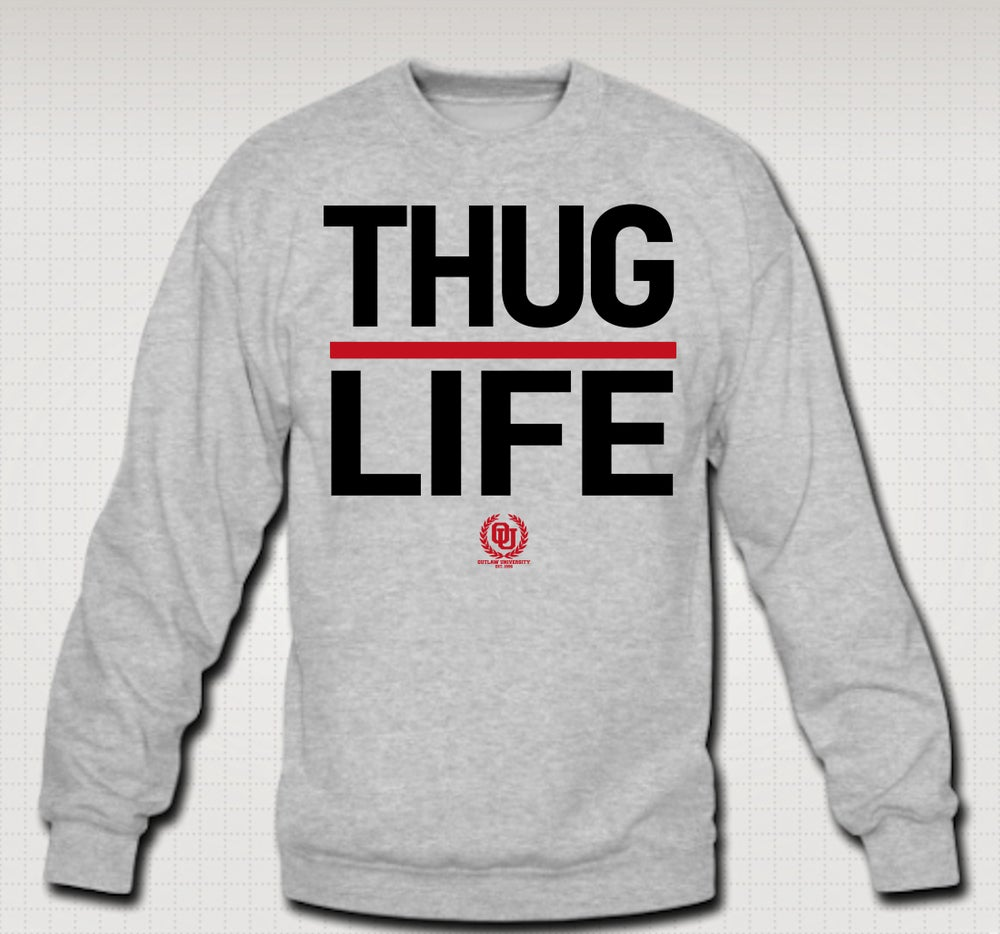 Image of Thuglife Crewneck Red Stripe - Comes in Black, Grey, Navy Blue. CLICK HERE TO SEE ALL COLORS