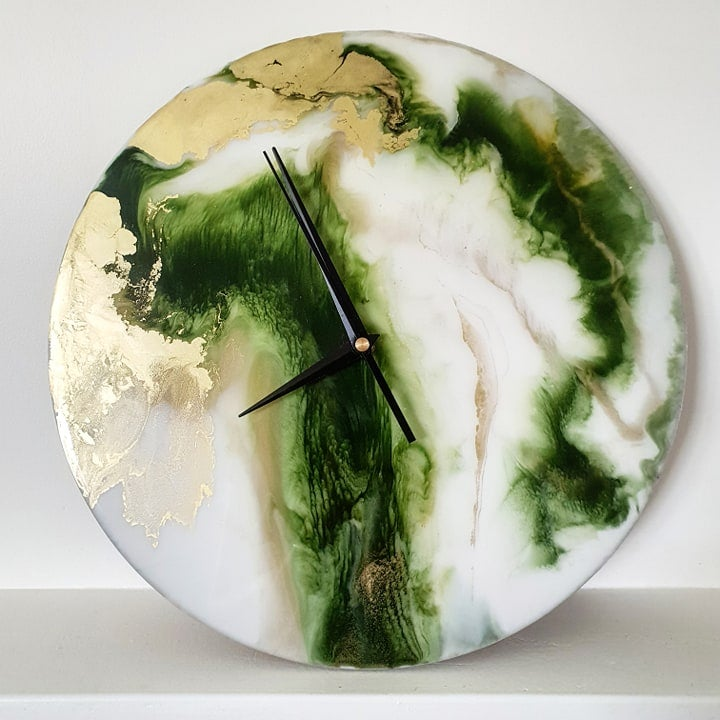 Image of Moss+Gold Resin Clock