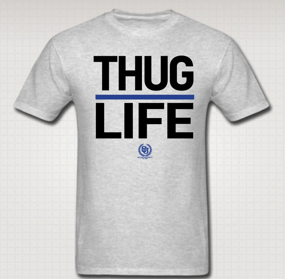 Image of Thuglife Tshirt Blue Stripe- Comes in Black, White, Red, Grey. CLICK HERE TO SEE ALL COLORS