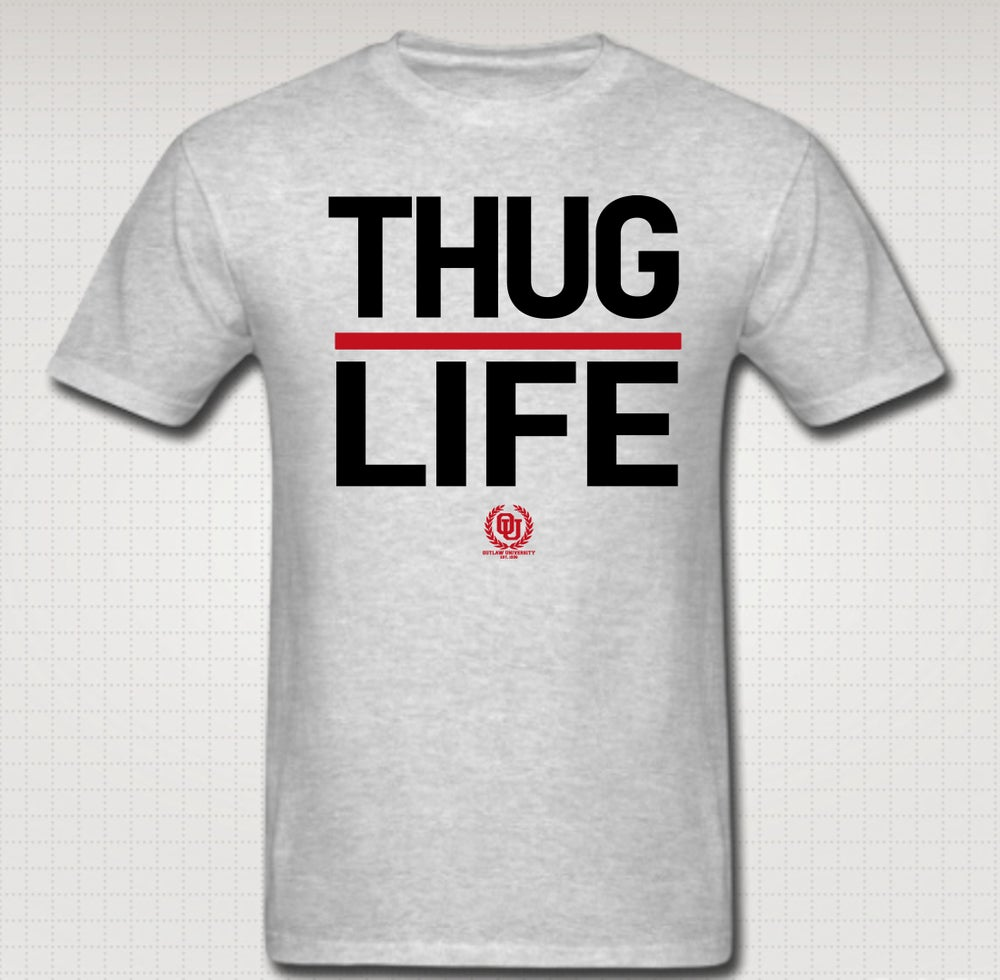 Image of Thuglife Tshirt Red Stripe- Comes in Black, White, Navy Blue, Grey. CLICK HERE TO SEE ALL COLORS