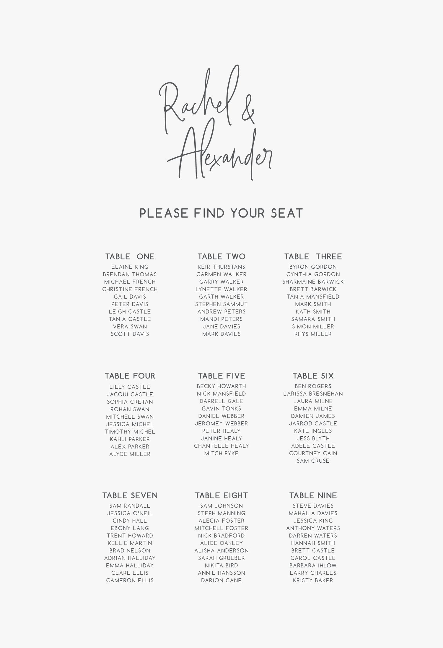 Image of Names of couple seating plan