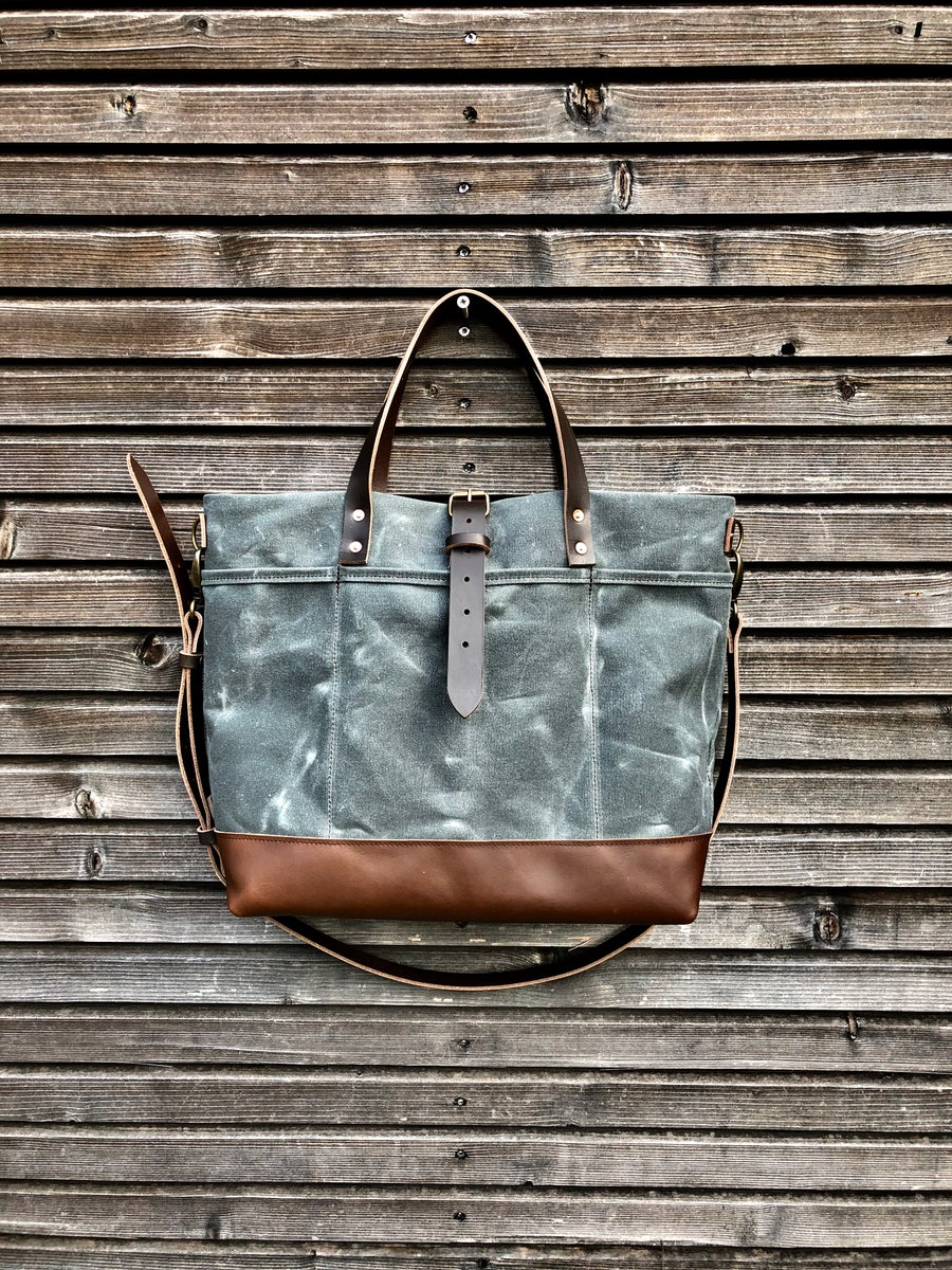 Image of Waxed canvas tote bag with cross body strap