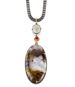 Image of Figured Agate Moonstone Hessonite Garnet Terra Pendant