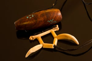 Image of Mesquite Burl One of A Kind - w/40 year old coyote teeth