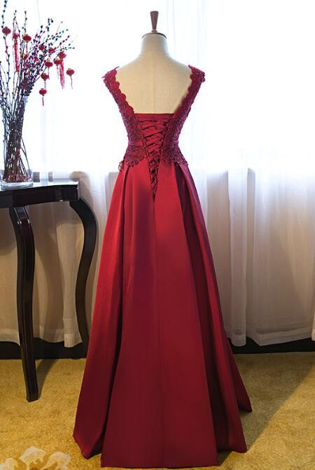 Dark Red New Style Junior Prom Dress 2019, Lace and Satin Gown