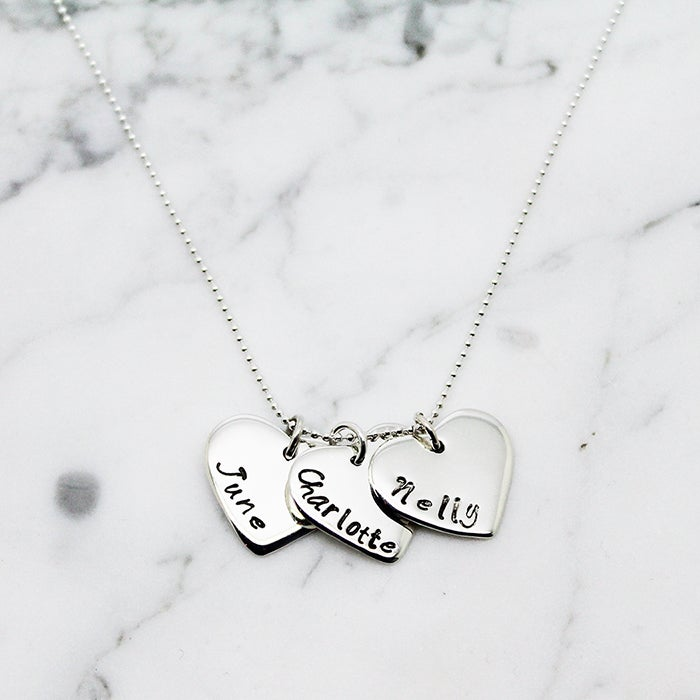 Image of Personalised triple love heart sterling silver necklace