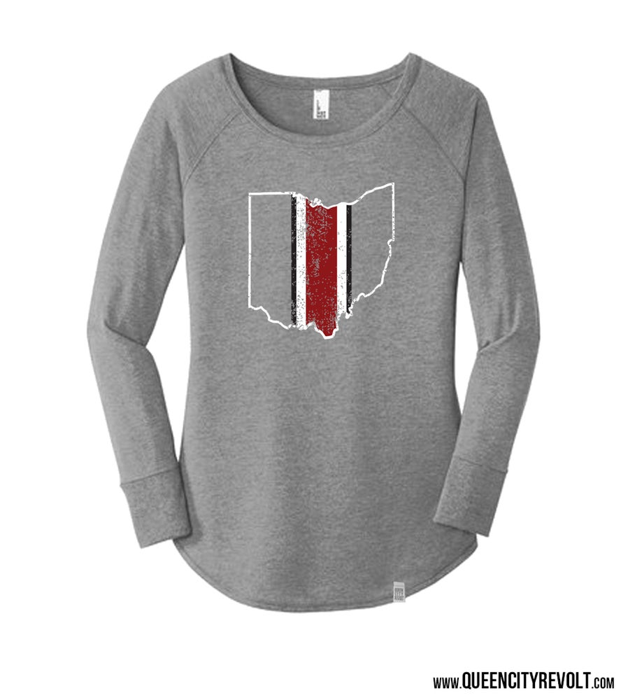 Image of Ohio Football Helmet, Women's Longsleeve, Grey