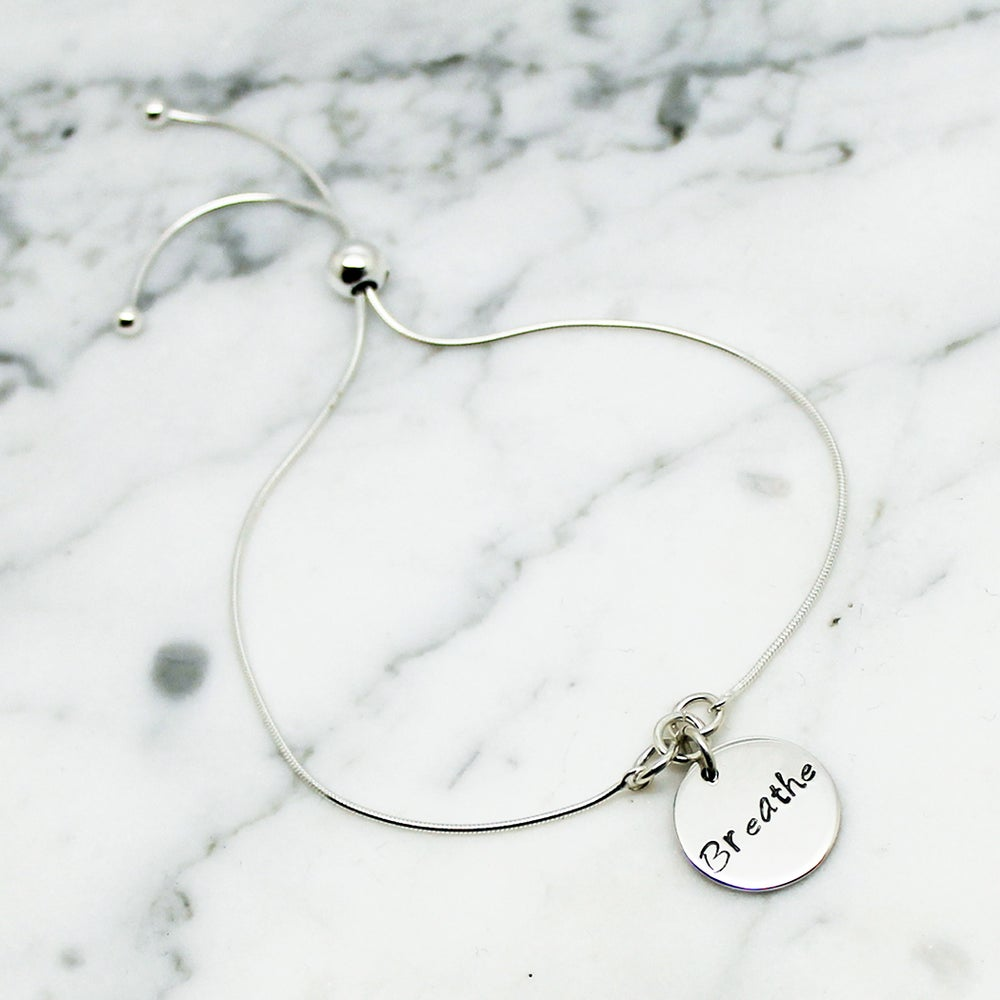 Image of Breathe Disc Sterling Silver Slider Bracelet