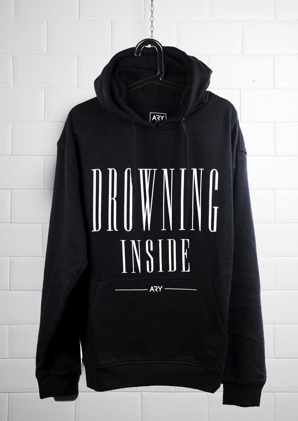 Image of New 'Drowning Inside' Black Hoodie