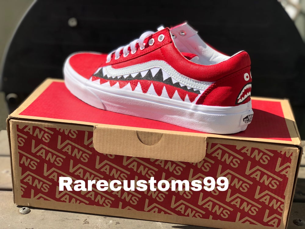 Red Old Skool Bape Vans Shark teeth