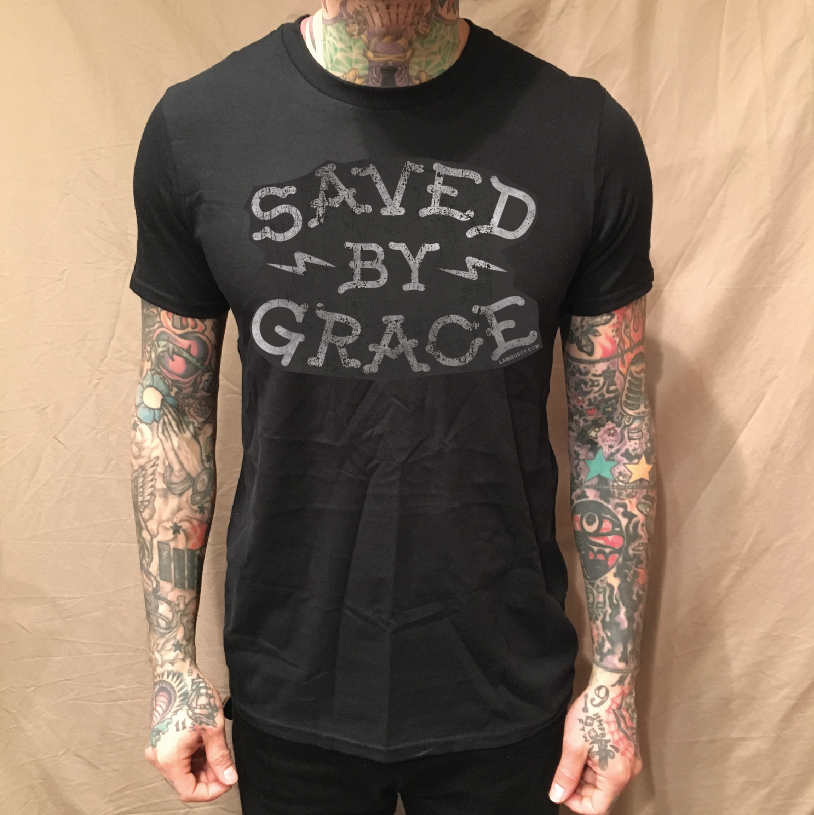 Image of SAVED BY GRACE BLACK TEE
