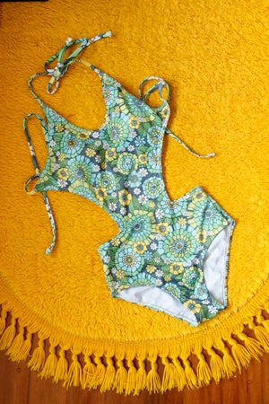 Image of Cut out one piece in the blue groovy bunch print