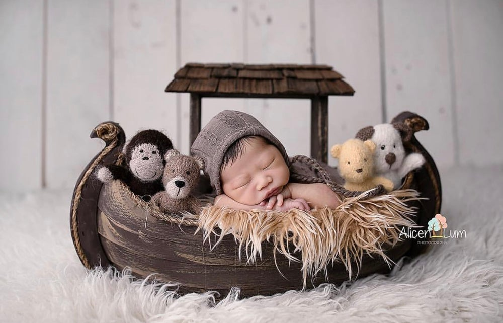 Image of Hand Crafted, Noah's Ark Photo Prop, Newborn Photo Prop, Baby Prop, Boat Prop