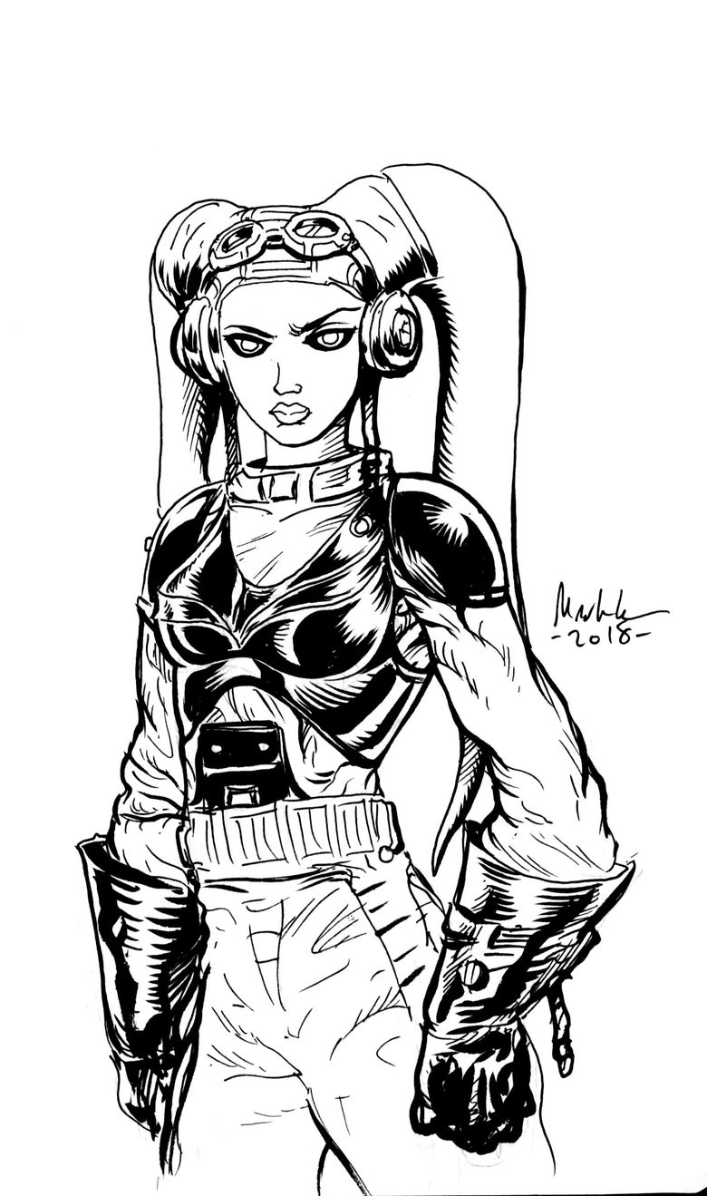 Image of Hera of ghost crew inked 5x7 inch piece