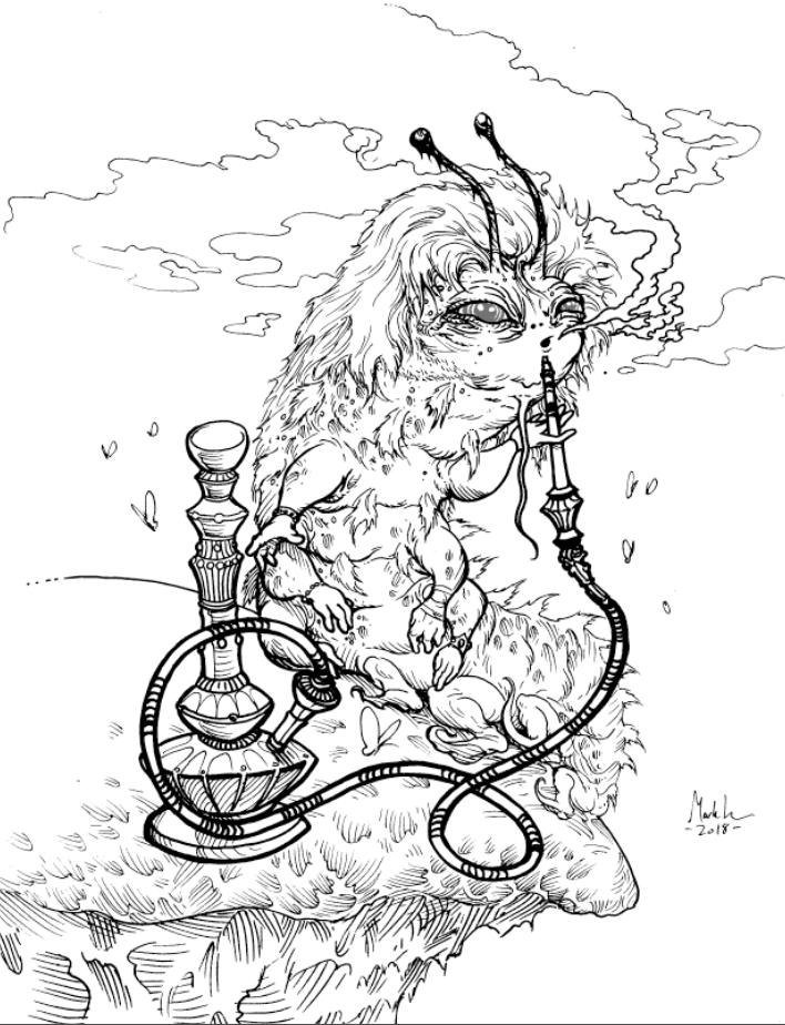 Image of A Hookah Smoking Catipillar original inked piece.