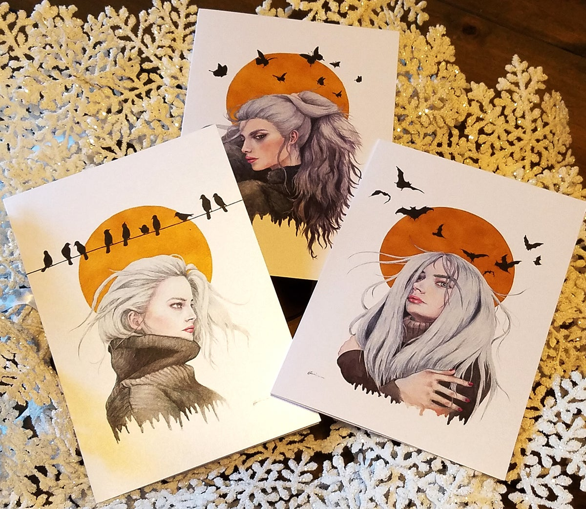 Image of 5x7 Cold Sky and Turtleneck Collection Art Cards