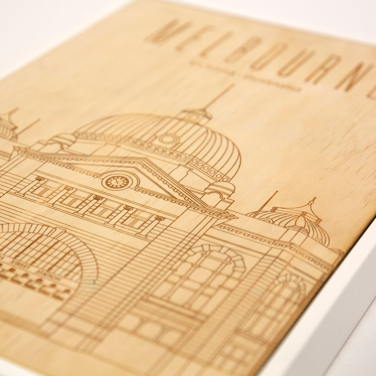 Image of Flinders Street Station | Framed Laser Engraved Pine