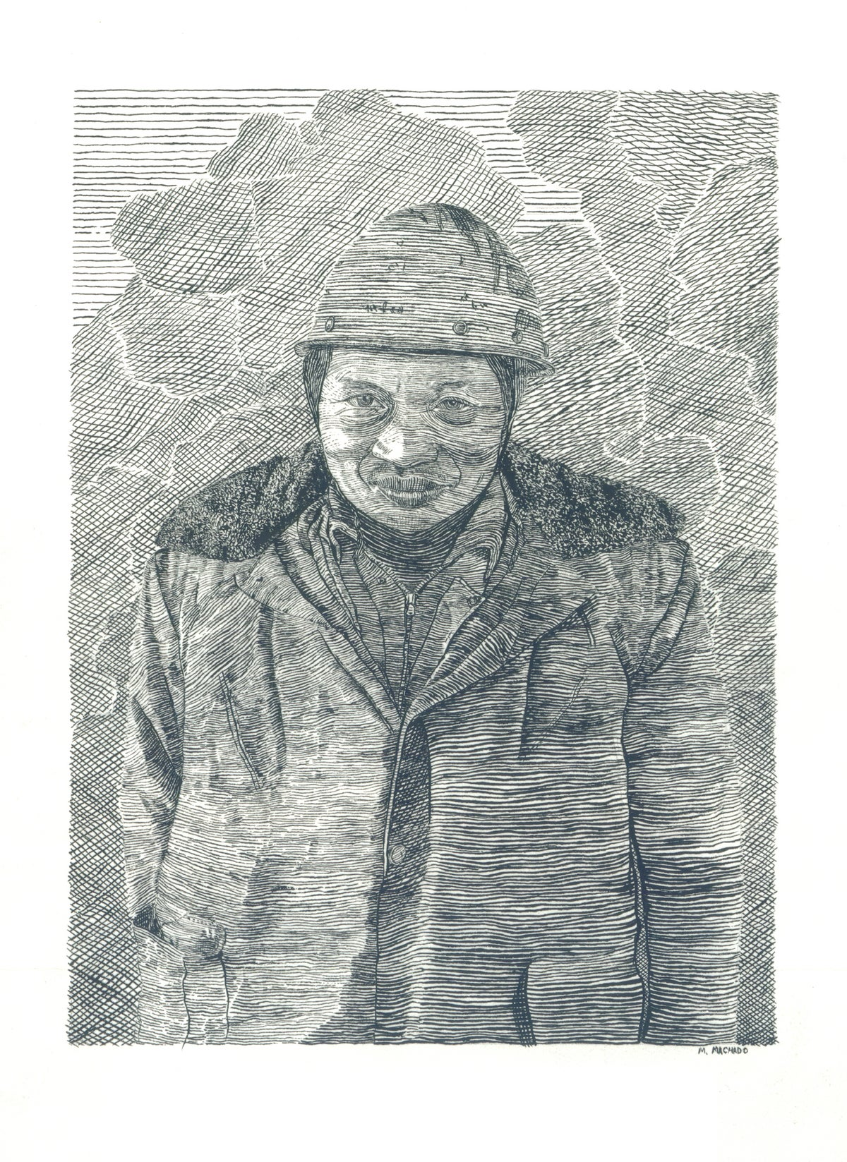 Image of A Shipyard Worker, Nantong China- Letterpress Print