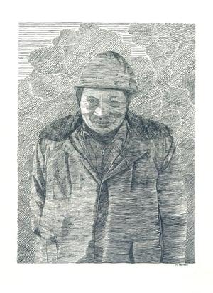 Image of A Shipyard Worker, Nantong China- Letterpress Print