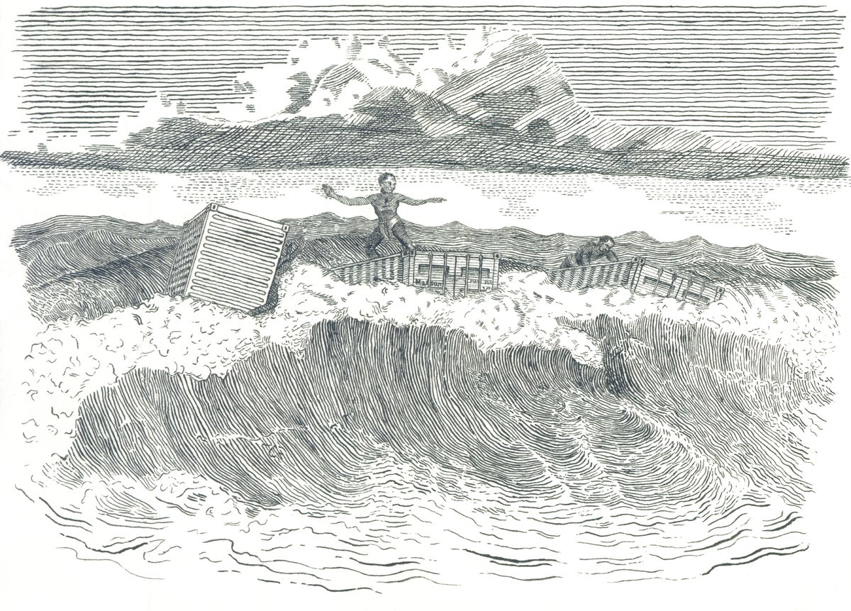 Image of Sandwich Islanders In The Surf- Letterpress Print