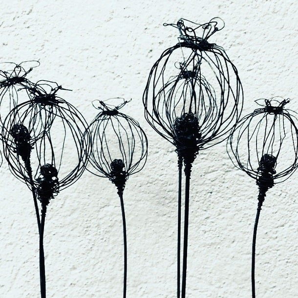 Image of Wire Poppy seed Garden Sculpture
