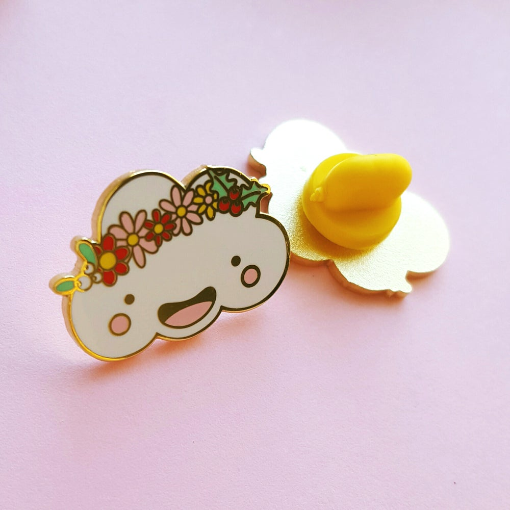 Image of Holly the Festive Flower Crown Cloud - Hard Enamel Pin