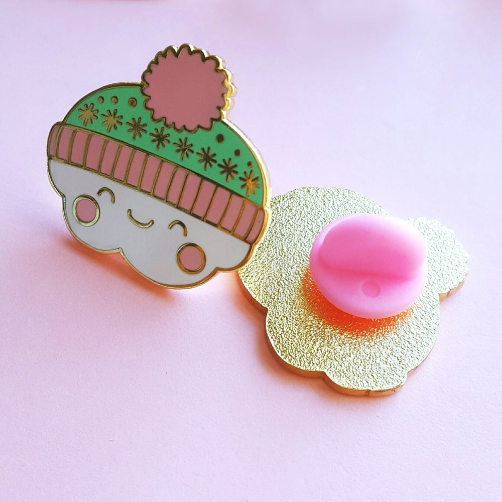 Image of Clarence the Cosy Bobble Hat Cloud - Hard Enamel Pin