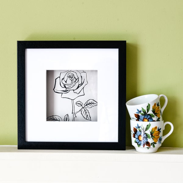 Image of Rose Outline Silhouette Papercut