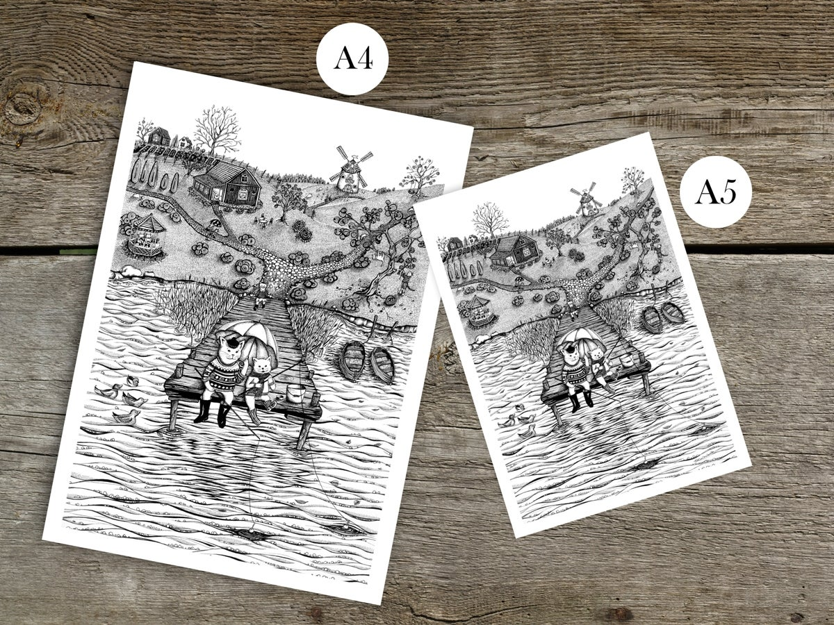 """Cats' Summer In the Countryside"". Fine art print of a series of graphic ink illustrations."