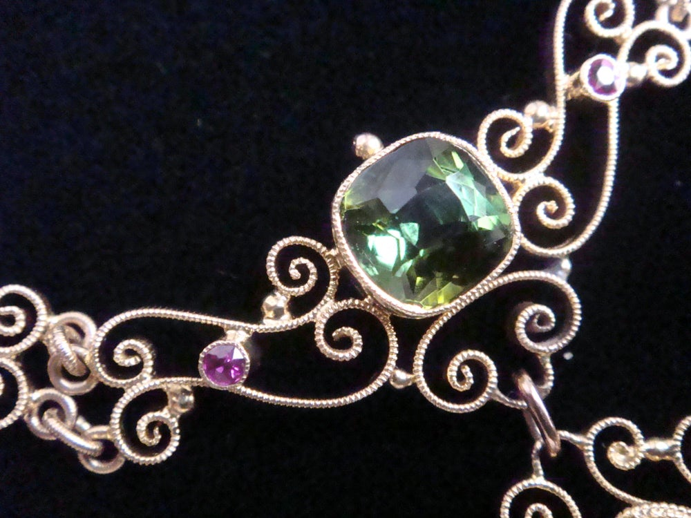 Image of Original Murrle Bennett 15ct green tourmaline and ruby necklace lavaliere