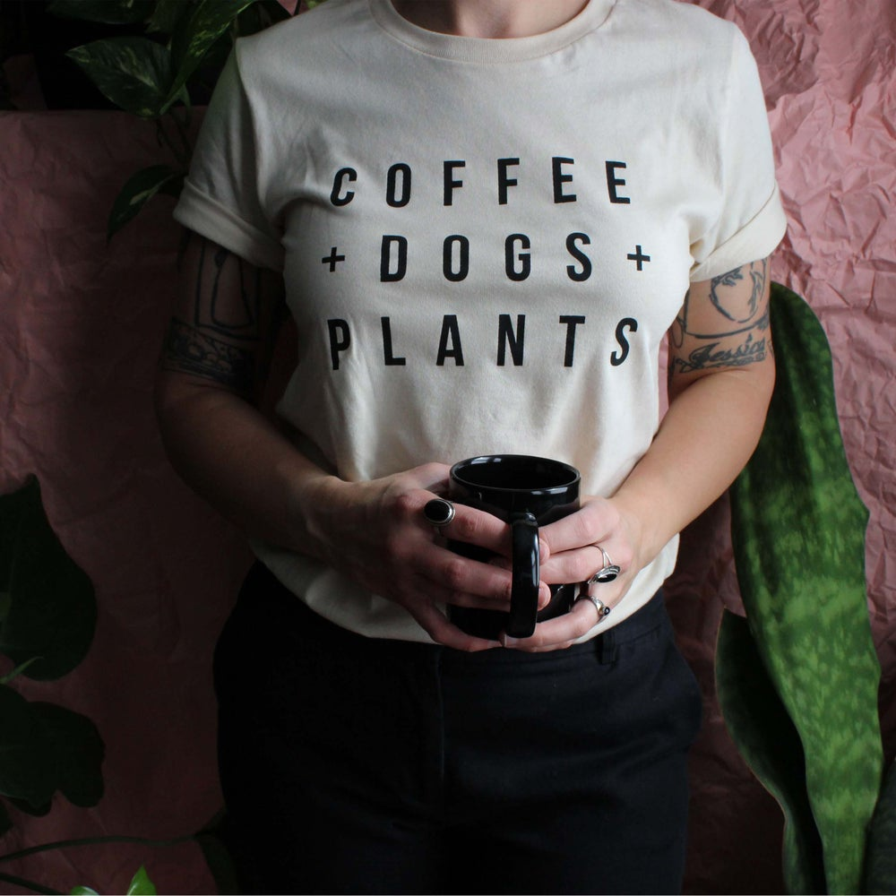 Image of Coffee Dogs and Plants T shirt