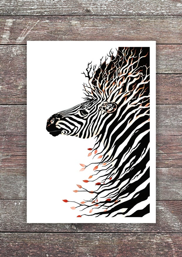 """""""Zebra Warrior"""". Fine art print of a painting dedicated to Ehlers-Danlos syndrome awareness."""