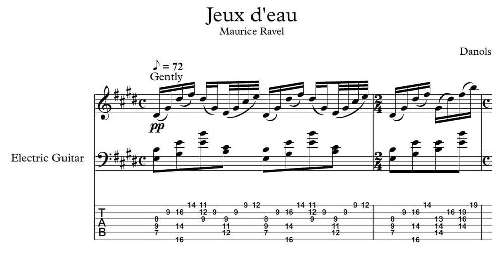 Image of Jeux d'eau TAB + Score