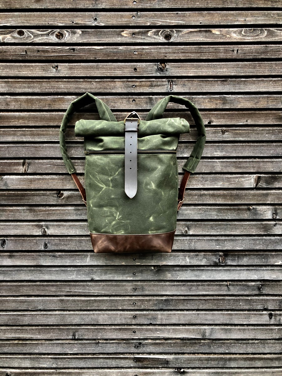 Image of Commuter backpack waxed canvas leather in medium size / Hipster Backpack with roll up top and leathe