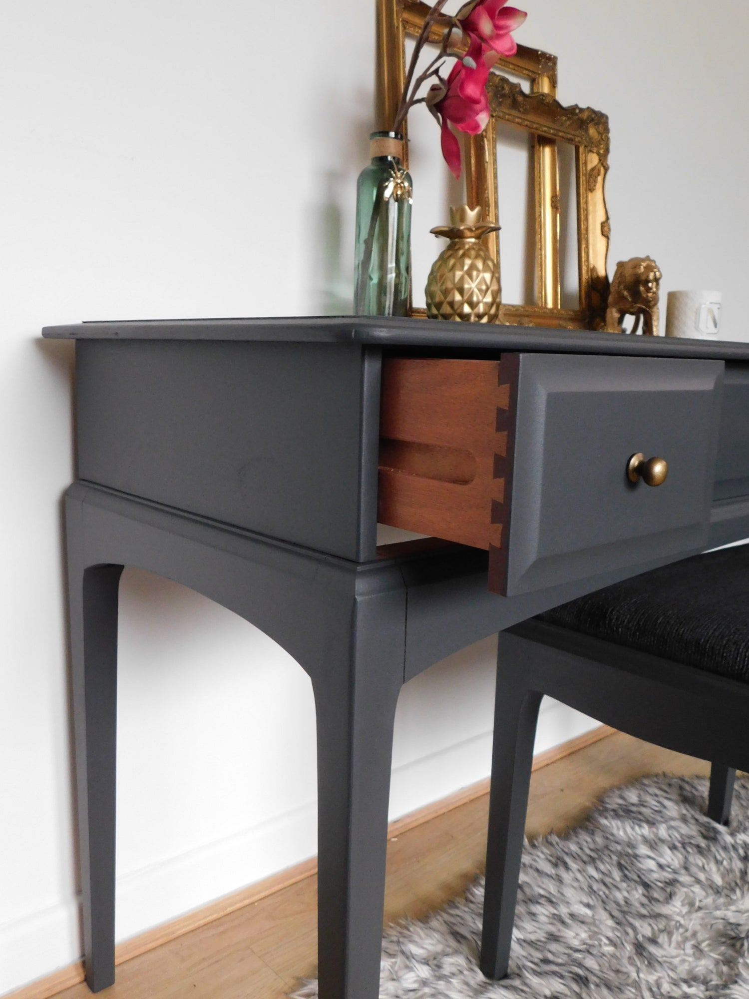 Image of Dark grey stag dressing table & stool