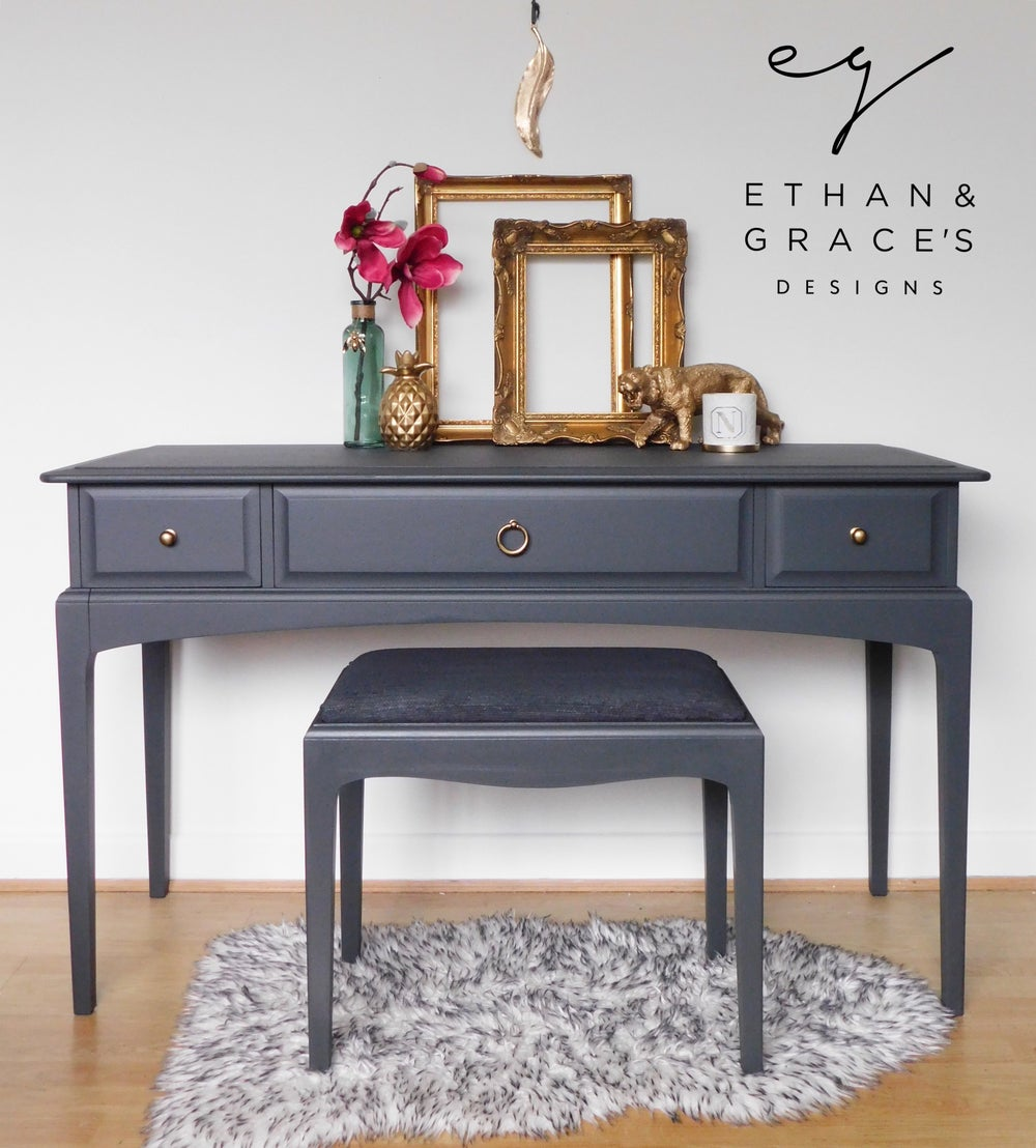 Image of Dark grey stag dressing table.