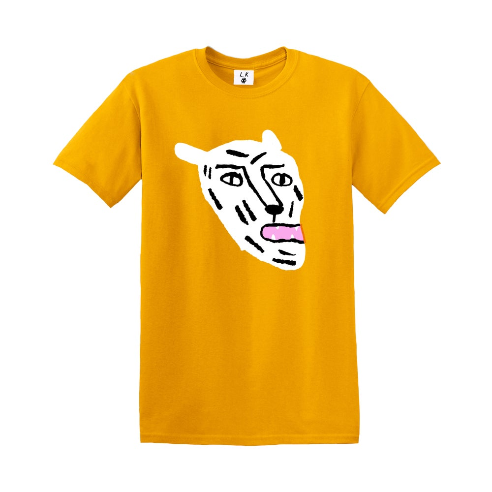 Image of White Cat - Adults Gold T-shirt