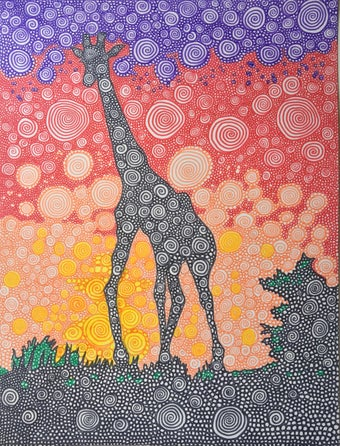 Image of Giraffe Sunset