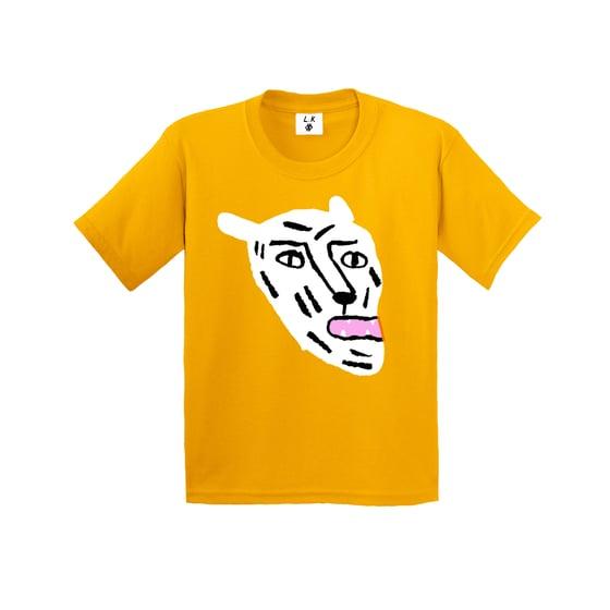 Image of White Cat - Kid's Gold T-shirt