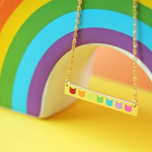 Image of Rainbow cat head, gold bar necklace - gold plated - gift boxed enamel necklace