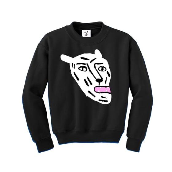 Image of White Cat - Kid's Black Sweatshirt