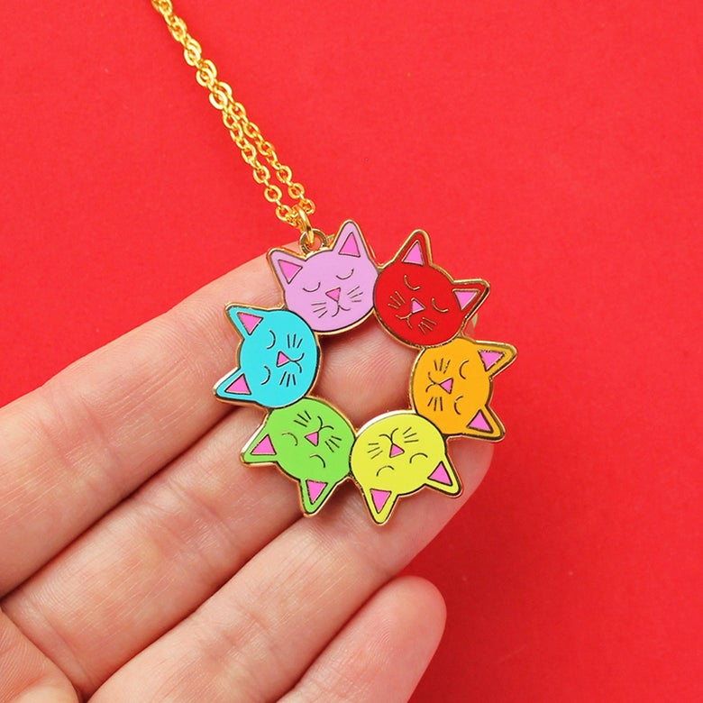 Image of Cat head rainbow mandala, pendant necklace - gold plated - gift boxed hard enamel necklace