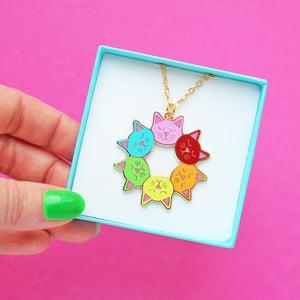Image of Cat head rainbow mandala, pendant necklace - gold plated - gift boxed hard enamel necklace
