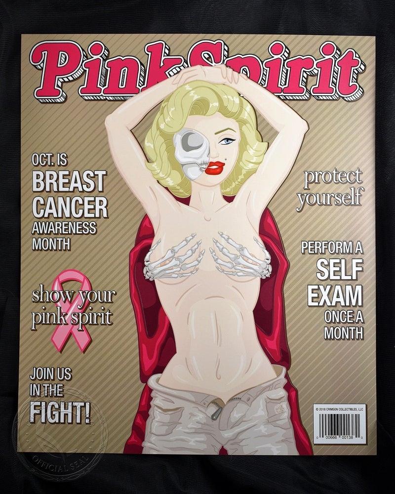 Image of Pink Spirit Mashup Art Print - Pop Culture Misfits Marilyn Monroe Rolling Stone Breast Cancer Aware