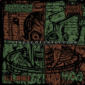 Image of 4-WAY SPLIT CD-STAGES OF INFECTION-AGATHOCLES/HYBRID VISCERY/G.I.JOKE/MUCUS