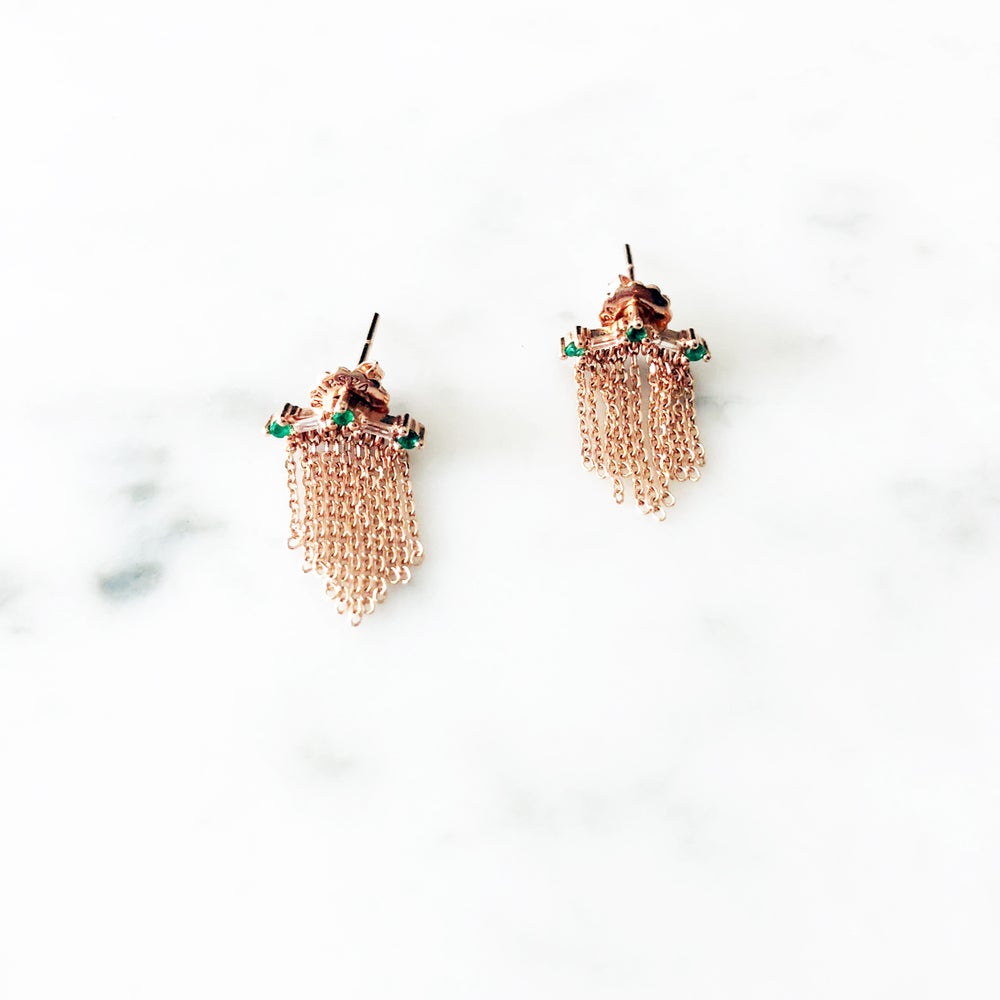 Image of Deco Fringe Emerald Earring