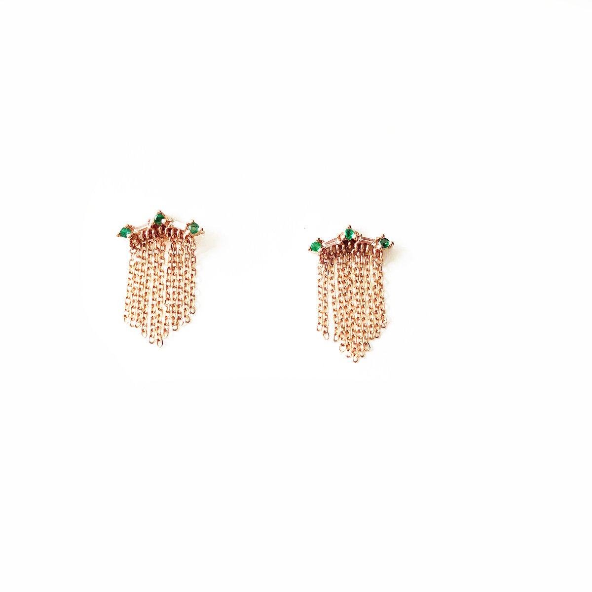 Image of Deco Fringe Emerald Earring