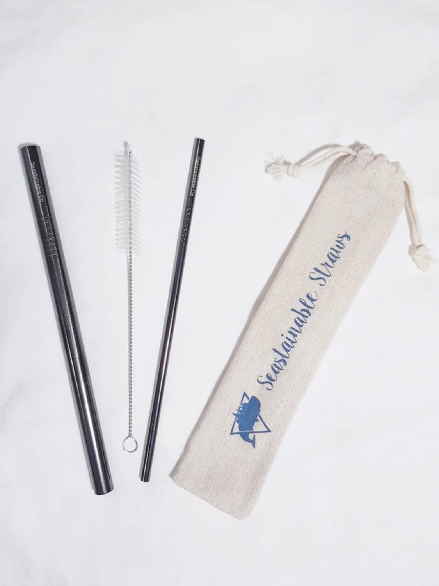 Image of Seastainable Black Chrome Straw Set (with one straw cleaner)