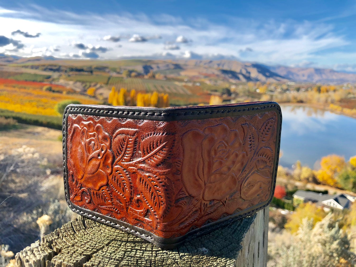 "Image of ""Jolly Rancher"" Custom Bi-Fold Leather Wallet with 6 card slots and large cash slot"